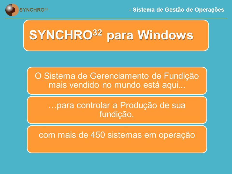 - Sistema de Gestão de Operações SYNCHRO 32 Requisitos Mínimos  Requisitos para Servidor  2Gb RAM mais 8mb RAM por 1GB de espaço de disco  Pentium 2.4 Ghz  400Gb Hard disk  SQL Server versão 2000 ou acima (se mais de 10 usuários)  Facilidade de Backup  Requisitos para Comunicação:  Banda Larga.