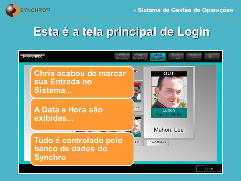 - Sistema de Gestão de Operações SYNCHRO 32 Esta é a tela principal de Login Tudo é controlado pelo banco de dados do Synchro...e Lee esta fora do sistema.