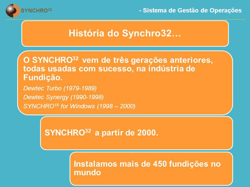 - Sistema de Gestão de Operações SYNCHRO 32 História do Synchro32… O SYNCHRO 32 vem de três gerações anteriores, todas usadas com sucesso, na indústria de Fundição.