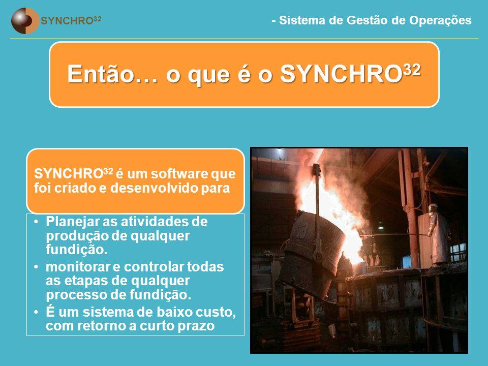 - Sistema de Gestão de Operações SYNCHRO 32 SYNCHRO 32 é um software que foi criado e desenvolvido para Planejar as atividades de produção de qualquer fundição.