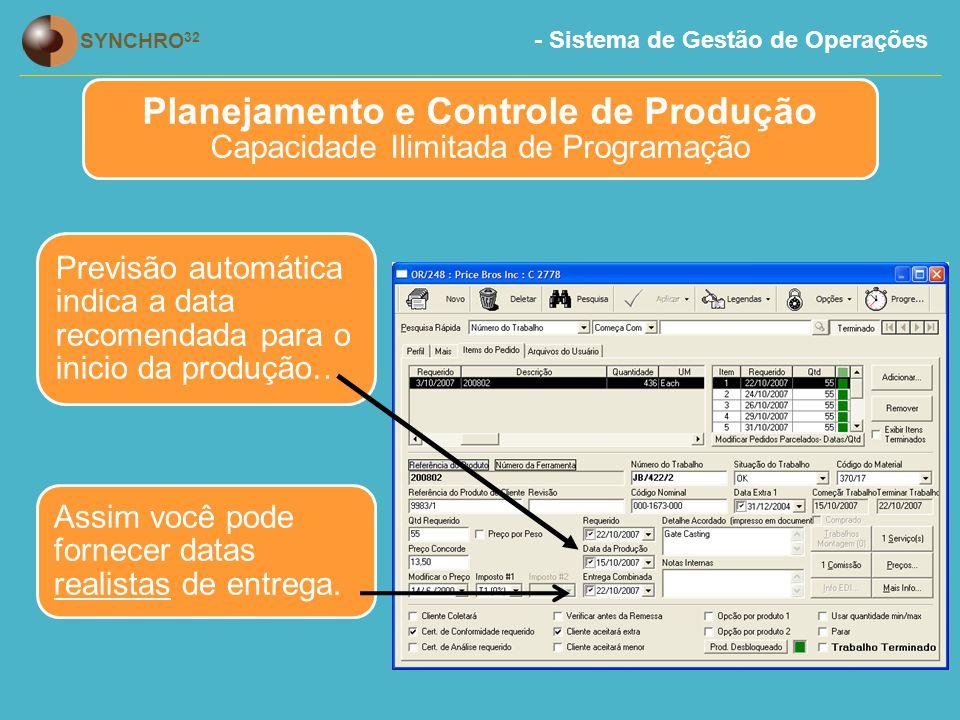 - Sistema de Gestão de Operações SYNCHRO 32 Previsão automática indica a data recomendada para o inicio da produção… Planejamento e Controle de Produção Capacidade Ilimitada de Programação Assim você pode fornecer datas realistas de entrega.