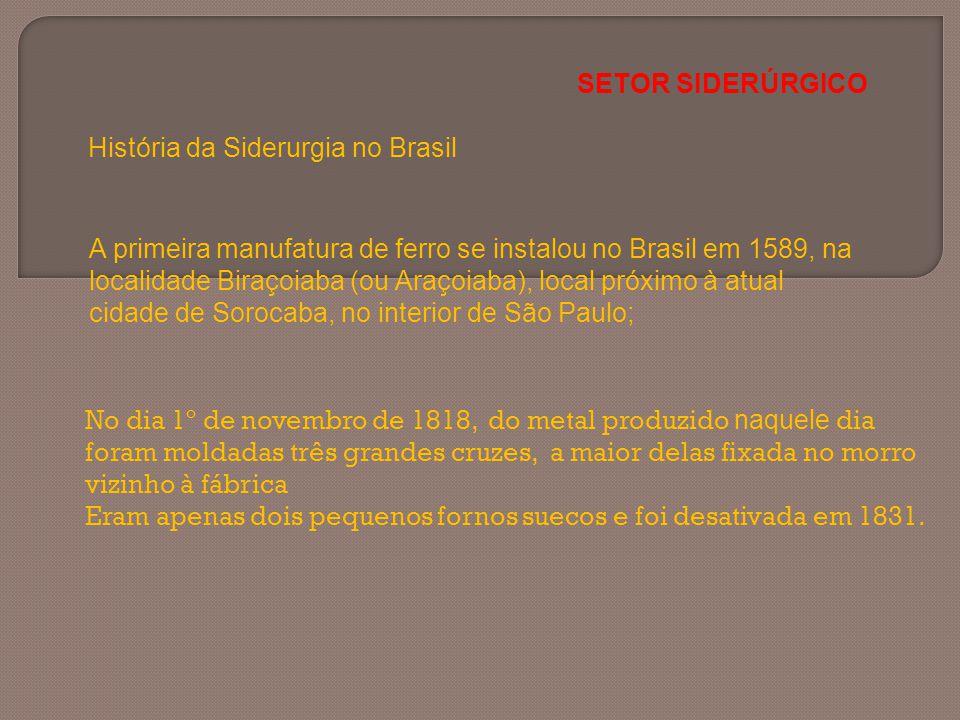 A primeira manufatura de ferro se instalou no Brasil em 1589, na localidade Biraçoiaba (ou Araçoiaba), local próximo à atual cidade de Sorocaba, no in