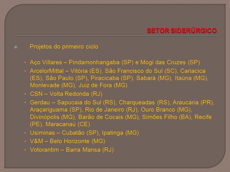  Projetos do primeiro ciclo Aço Villares – Pindamonhangaba (SP) e Mogi das Cruzes (SP) ArcelorMittal – Vitória (ES), São Francisco do Sul (SC), Caria