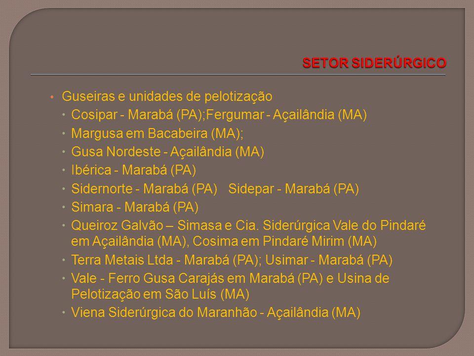 Guseiras e unidades de pelotização  Cosipar - Marabá (PA);Fergumar - Açailândia (MA)  Margusa em Bacabeira (MA);  Gusa Nordeste - Açailândia (MA) 