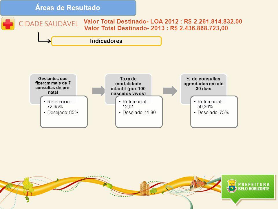 Áreas de Resultado Indicadores Gestantes que fizeram mais de 7 consultas de pré- natal Referencial: 72,95% Desejado: 85% Taxa de mortalidade infantil (por 100 nascidos vivos) Referencial: 12,01 Desejado: 11,80 % de consultas agendadas em até 30 dias Referencial: 59,30% Desejado: 75% Valor Total Destinado- LOA 2012 : R$ 2.261.814.832,00 Valor Total Destinado- 2013 : R$ 2.436.868.723,00