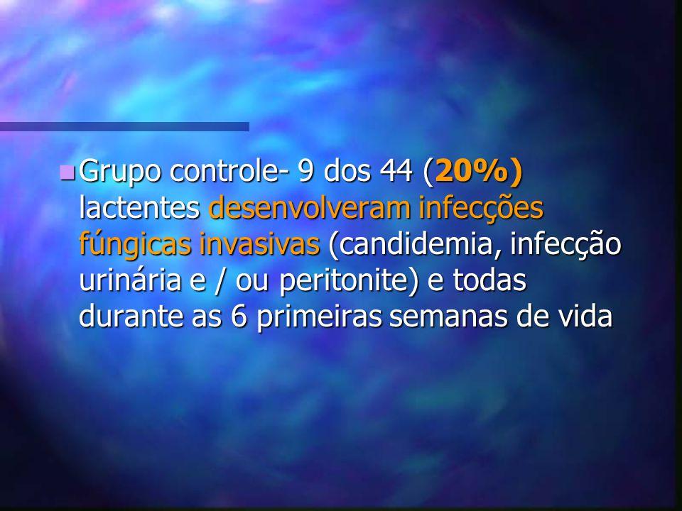 Grupo controle- 9 dos 44 (20%) lactentes desenvolveram infecções fúngicas invasivas (candidemia, infecção urinária e / ou peritonite) e todas durante