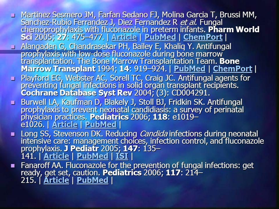 Martinez Sesmero JM, Farfan Sedano FJ, Molina Garcia T, Brussi MM, Sanchez-Rubio Ferrandez J, Diez Fernandez R et al. Fungal chemoprophylaxis with flu