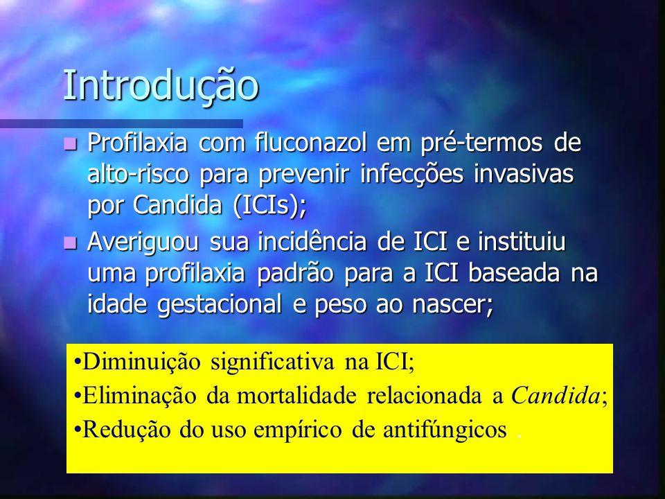 Introdução Profilaxia com fluconazol em pré-termos de alto-risco para prevenir infecções invasivas por Candida (ICIs); Profilaxia com fluconazol em pr