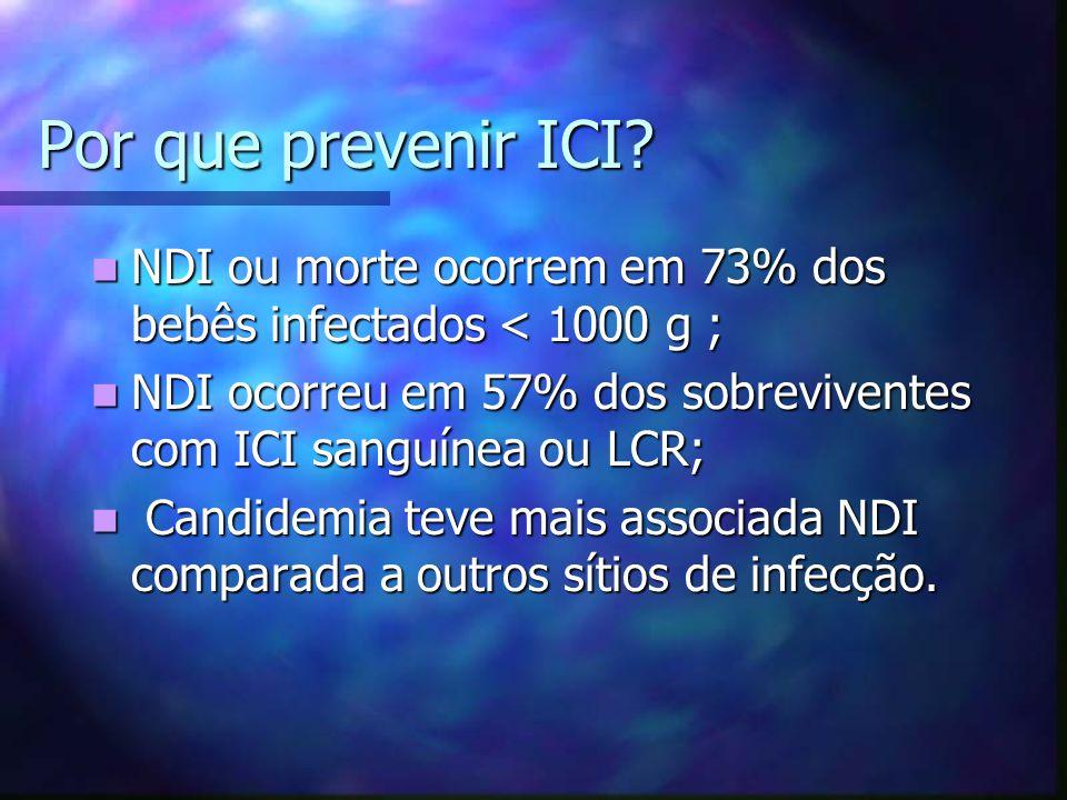 Por que prevenir ICI? NDI ou morte ocorrem em 73% dos bebês infectados < 1000 g ; NDI ou morte ocorrem em 73% dos bebês infectados < 1000 g ; NDI ocor
