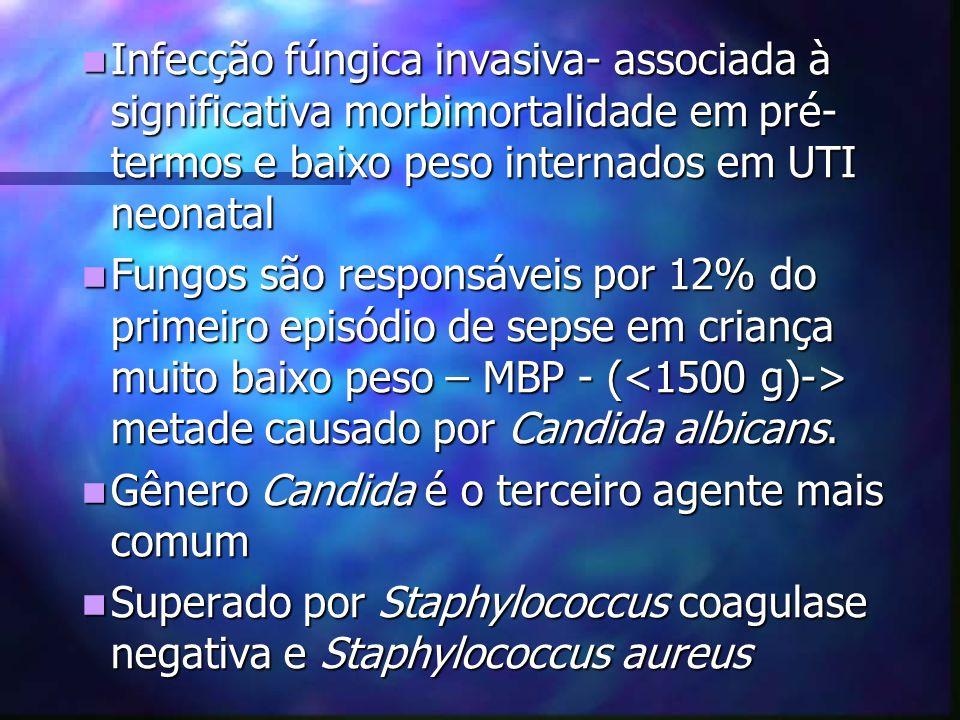 Infecção fúngica invasiva- associada à significativa morbimortalidade em pré- termos e baixo peso internados em UTI neonatal Infecção fúngica invasiva