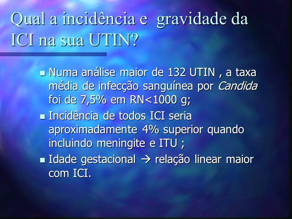 Qual a incidência e gravidade da ICI na sua UTIN? Numa análise maior de 132 UTIN, a taxa média de infecção sanguínea por Candida foi de 7,5% em RN<100