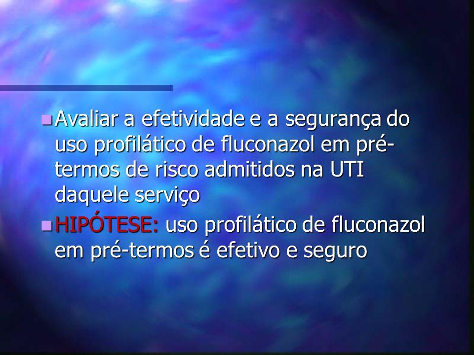 Avaliar a efetividade e a segurança do uso profilático de fluconazol em pré- termos de risco admitidos na UTI daquele serviço Avaliar a efetividade e