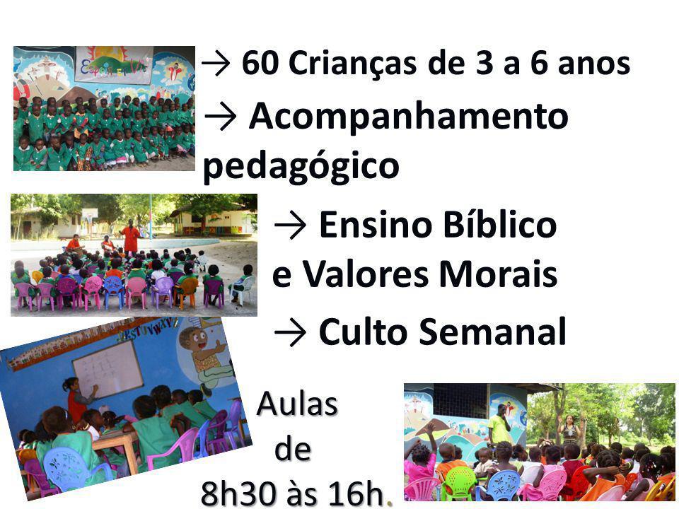 Aulas de 8h30 às 16h. Aulas de 8h30 às 16h. → Acompanhamento pedagógico → 60 Crianças de 3 a 6 anos → Ensino Bíblico e Valores Morais → Culto Semanal
