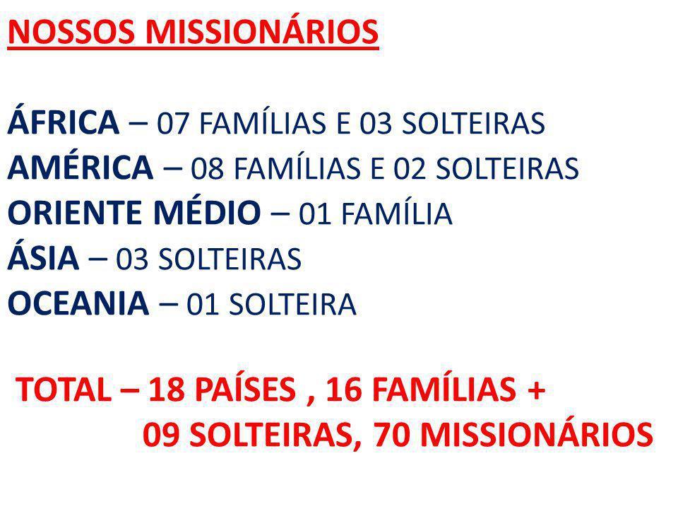 NOSSOS MISSIONÁRIOS ÁFRICA – 07 FAMÍLIAS E 03 SOLTEIRAS AMÉRICA – 08 FAMÍLIAS E 02 SOLTEIRAS ORIENTE MÉDIO – 01 FAMÍLIA ÁSIA – 03 SOLTEIRAS OCEANIA –