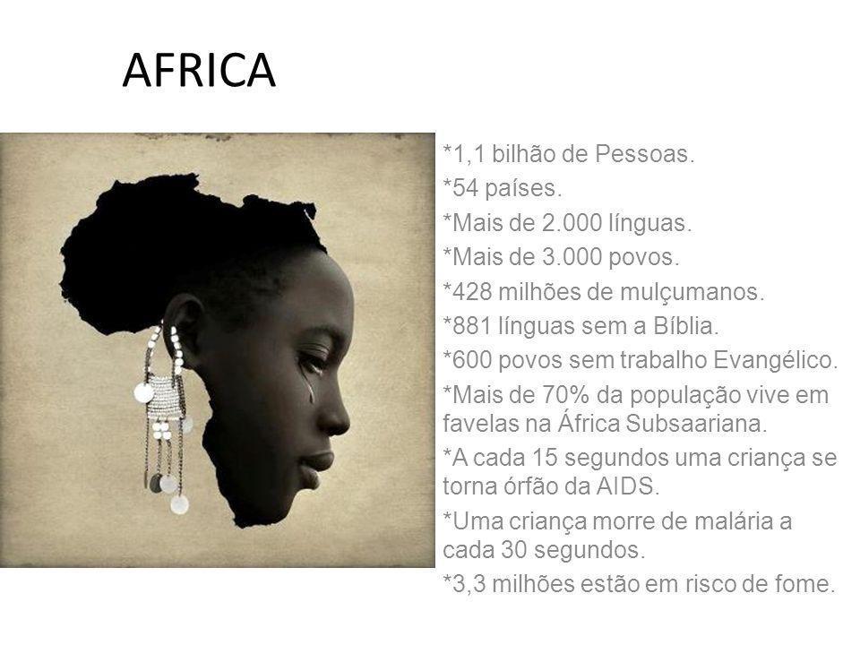 AFRICA *1,1 bilhão de Pessoas. *54 países. *Mais de 2.000 línguas. *Mais de 3.000 povos. *428 milhões de mulçumanos. *881 línguas sem a Bíblia. *600 p