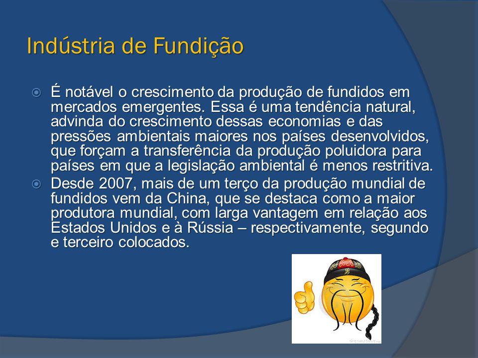 Indústria de Fundição  É notável o crescimento da produção de fundidos em mercados emergentes. Essa é uma tendência natural, advinda do crescimento d