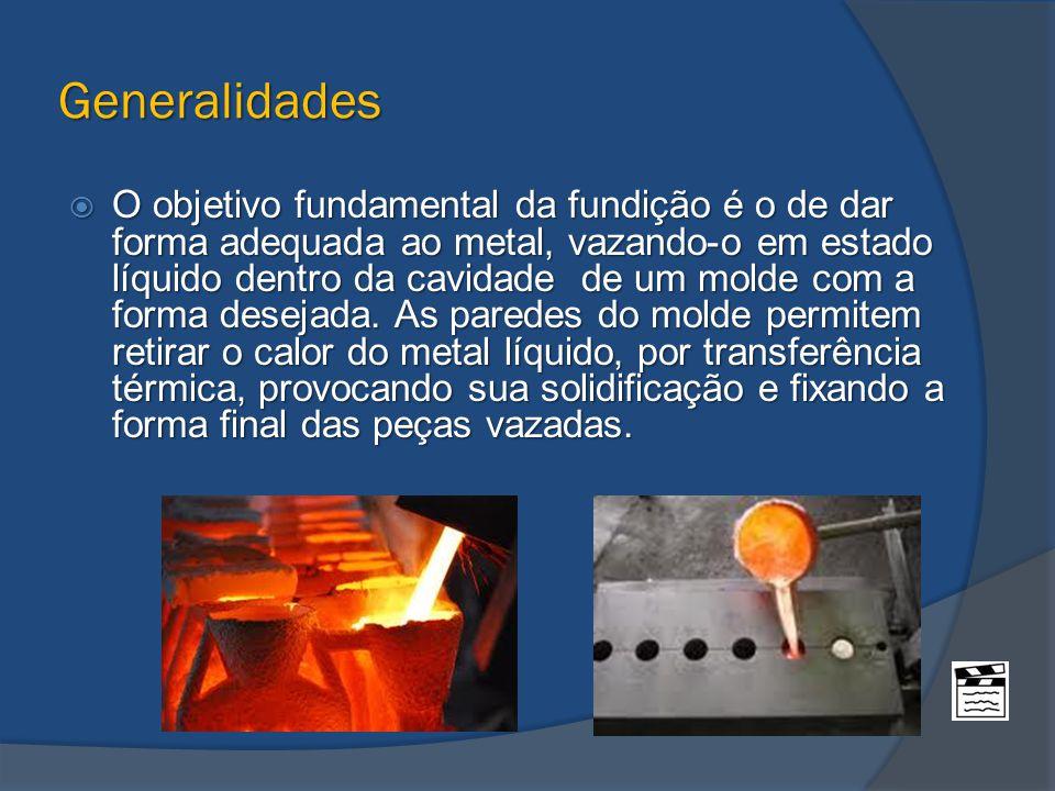 Generalidades  O objetivo fundamental da fundição é o de dar forma adequada ao metal, vazando-o em estado líquido dentro da cavidade de um molde com