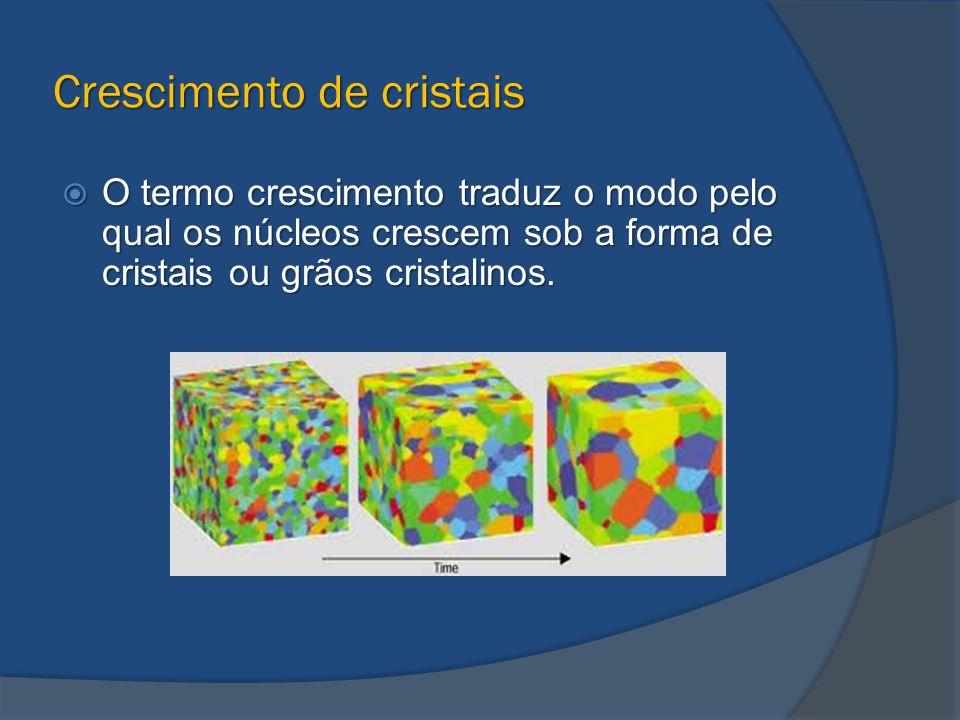 Crescimento de cristais  O termo crescimento traduz o modo pelo qual os núcleos crescem sob a forma de cristais ou grãos cristalinos.