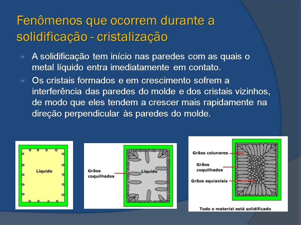 Fenômenos que ocorrem durante a solidificação - cristalização  A solidificação tem início nas paredes com as quais o metal líquido entra imediatament