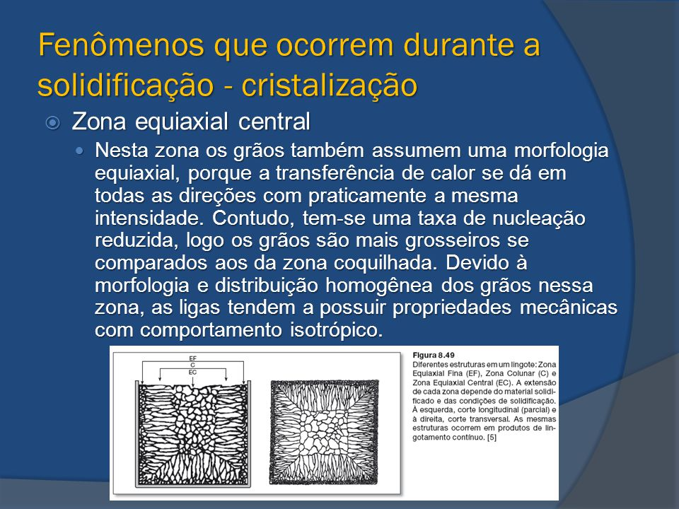 Fenômenos que ocorrem durante a solidificação - cristalização  Zona equiaxial central Nesta zona os grãos também assumem uma morfologia equiaxial, po