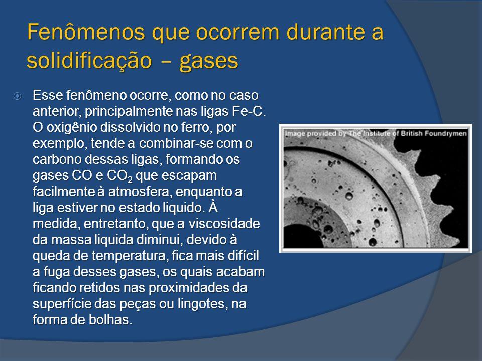 Fenômenos que ocorrem durante a solidificação – gases  Esse fenômeno ocorre, como no caso anterior, principalmente nas ligas Fe-C. O oxigênio dissolv