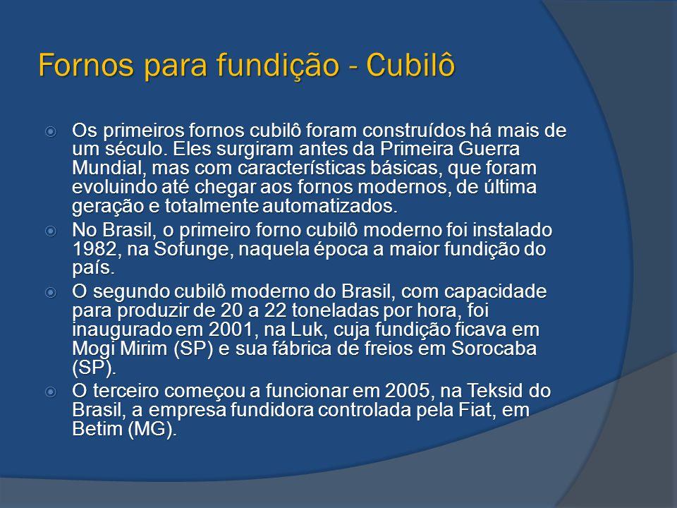 Fornos para fundição - Cubilô  Os primeiros fornos cubilô foram construídos há mais de um século. Eles surgiram antes da Primeira Guerra Mundial, mas