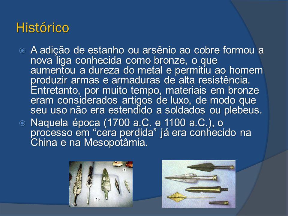 Histórico  A adição de estanho ou arsênio ao cobre formou a nova liga conhecida como bronze, o que aumentou a dureza do metal e permitiu ao homem pro