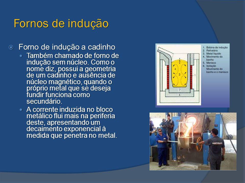Fornos de indução  Forno de indução a cadinho Também chamado de forno de indução sem núcleo. Como o nome diz, possui a geometria de um cadinho e ausê
