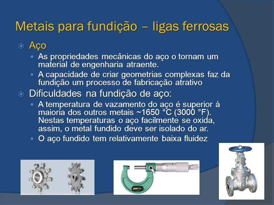 Metais para fundição – ligas ferrosas  Aço As propriedades mecânicas do aço o tornam um material de engenharia atraente. As propriedades mecânicas do