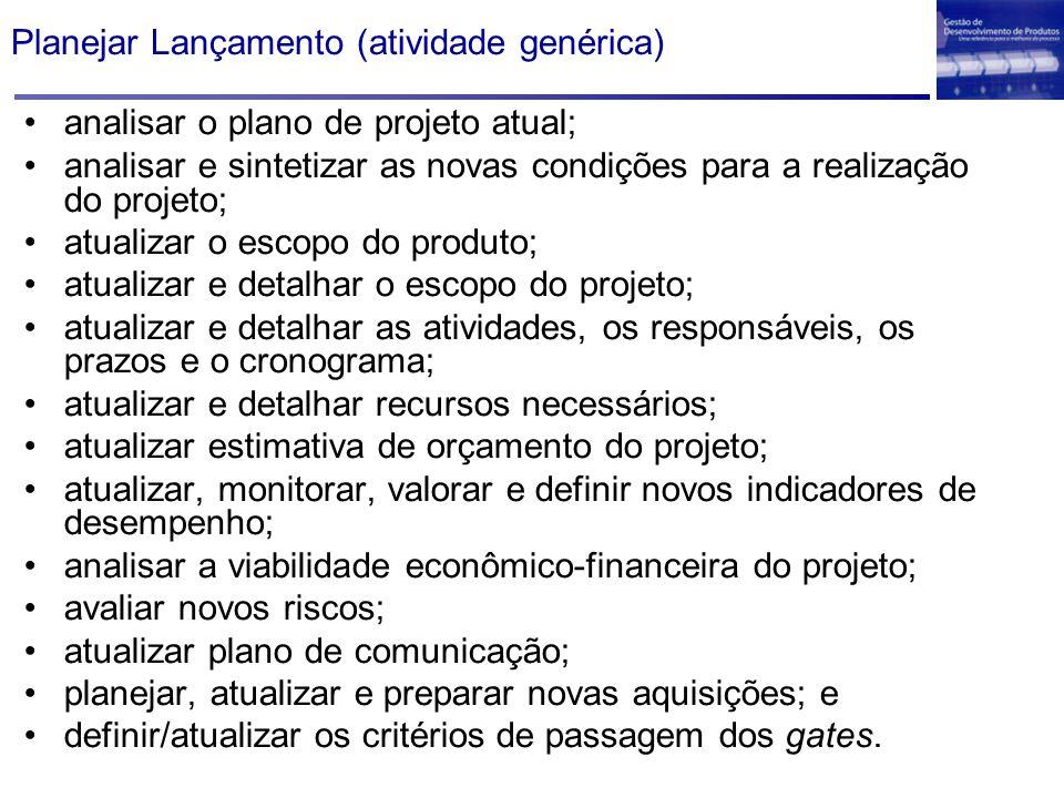 Planejar Lançamento (atividade genérica) analisar o plano de projeto atual; analisar e sintetizar as novas condições para a realização do projeto; atu