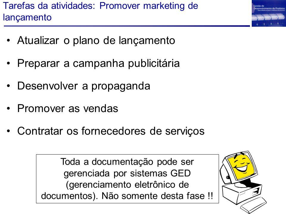 Tarefas da atividades: Promover marketing de lançamento Atualizar o plano de lançamento Preparar a campanha publicitária Desenvolver a propaganda Prom