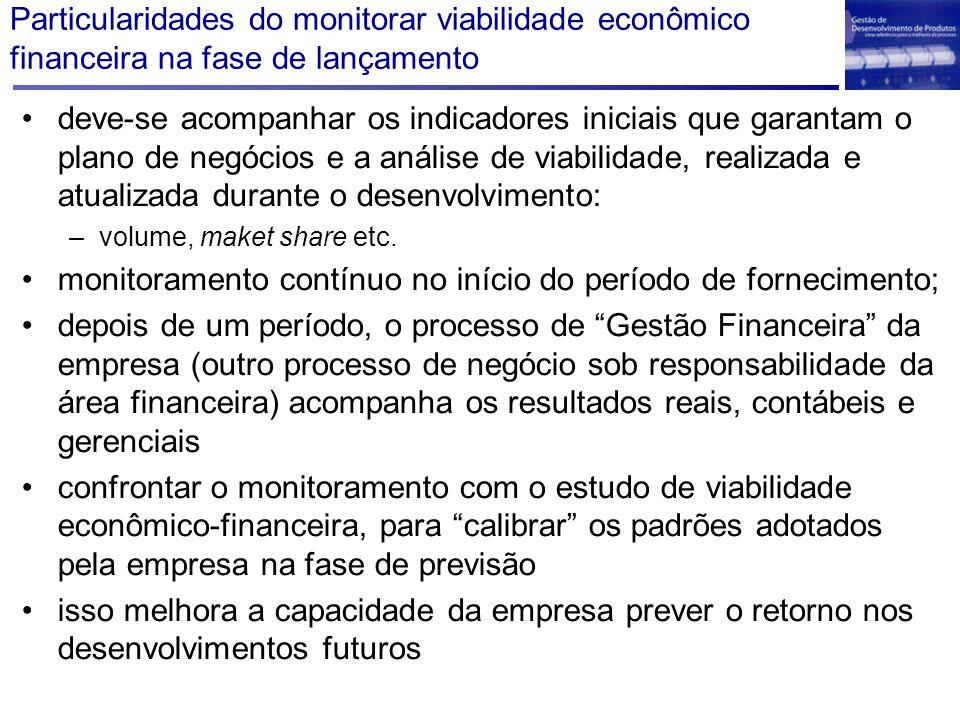 Particularidades do monitorar viabilidade econômico financeira na fase de lançamento deve-se acompanhar os indicadores iniciais que garantam o plano d