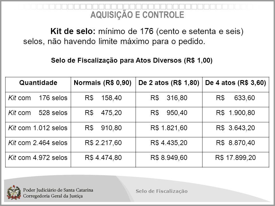 Selo de Fiscalização AQUISIÇÃO E CONTROLE Kit de selo: mínimo de 176 (cento e setenta e seis) selos, não havendo limite máximo para o pedido.
