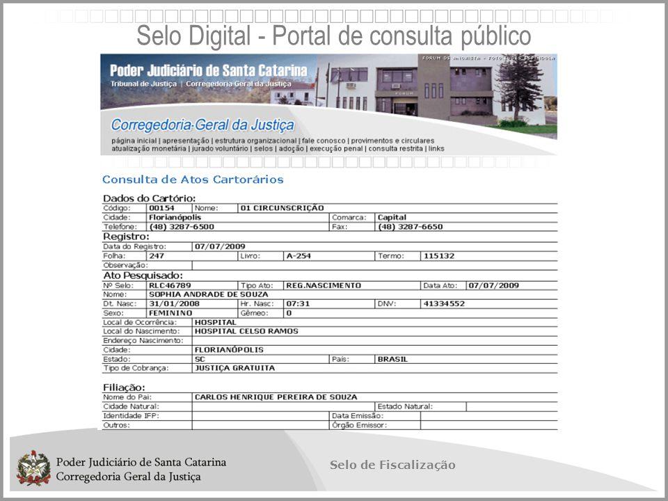 Selo de Fiscalização Selo Digital - Portal de consulta público