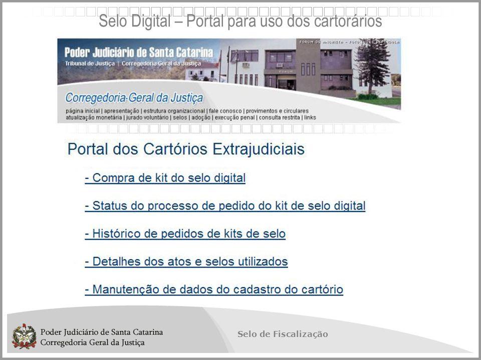 Selo de Fiscalização Selo Digital – Portal para uso dos cartorários