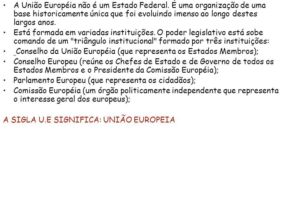 A União Européia não é um Estado Federal. É uma organização de uma base historicamente única que foi evoluindo imenso ao longo destes largos anos. Est