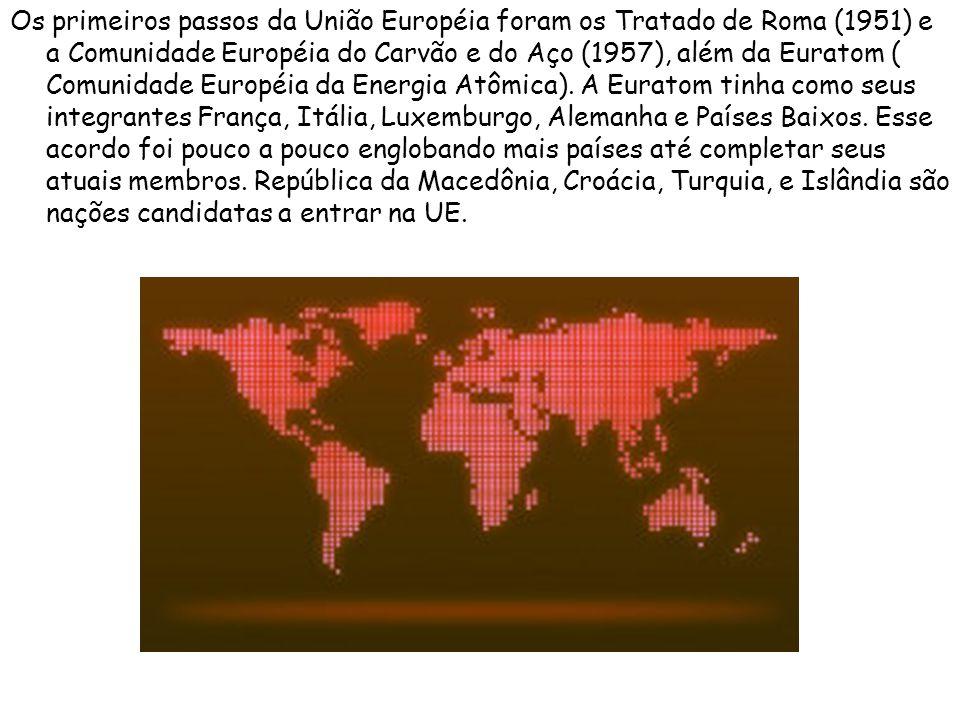 Os primeiros passos da União Européia foram os Tratado de Roma (1951) e a Comunidade Européia do Carvão e do Aço (1957), além da Euratom ( Comunidade