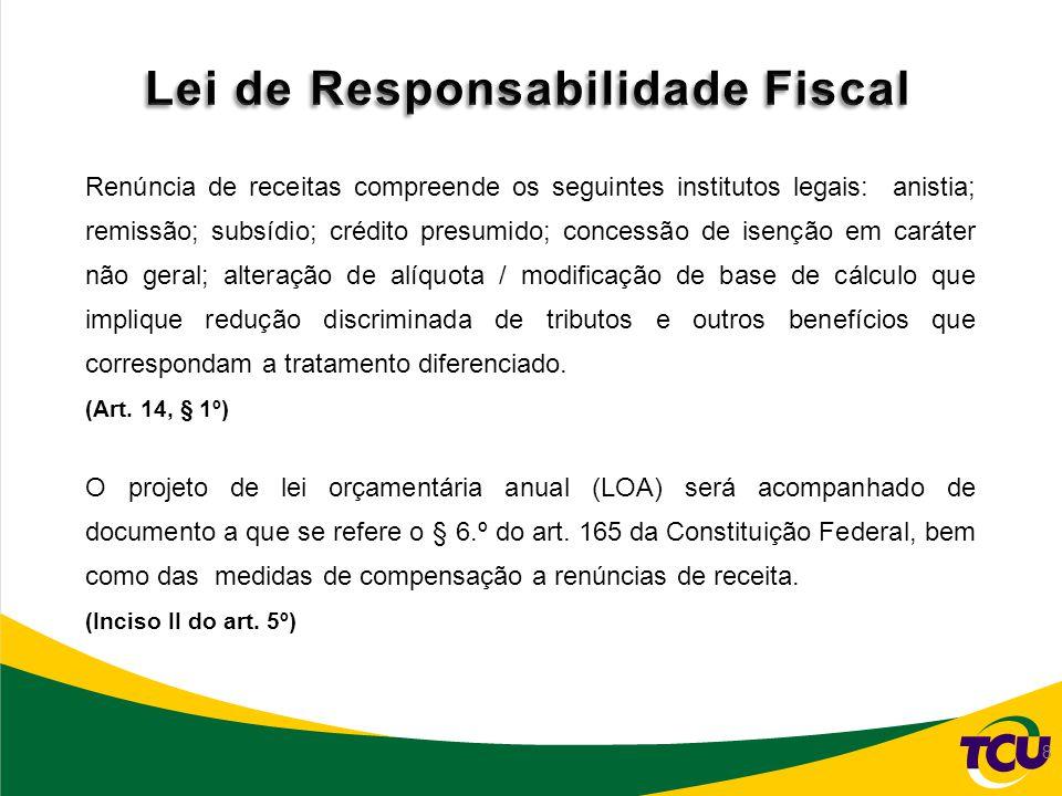 Relatório de Gestão da Renúncia Identificação da Renúncia Quadro II.A.5 - Demonstrativo de identificação da renúncia de receitas