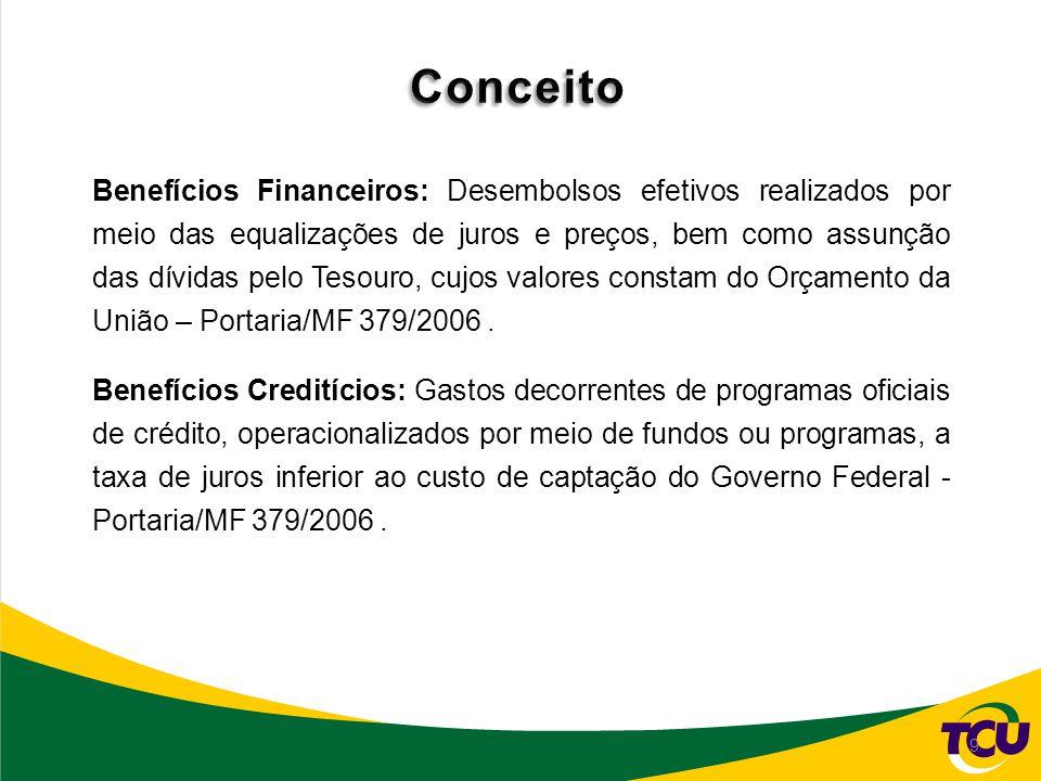 9 Conceituação Benefícios Financeiros: Desembolsos efetivos realizados por meio das equalizações de juros e preços, bem como assunção das dívidas pelo Tesouro, cujos valores constam do Orçamento da União – Portaria/MF 379/2006.
