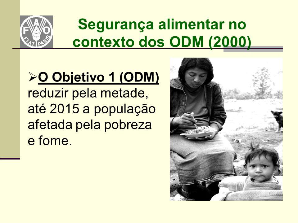 Segurança alimentar no contexto dos ODM (2000)  O Objetivo 1 (ODM) reduzir pela metade, até 2015 a população afetada pela pobreza e fome.