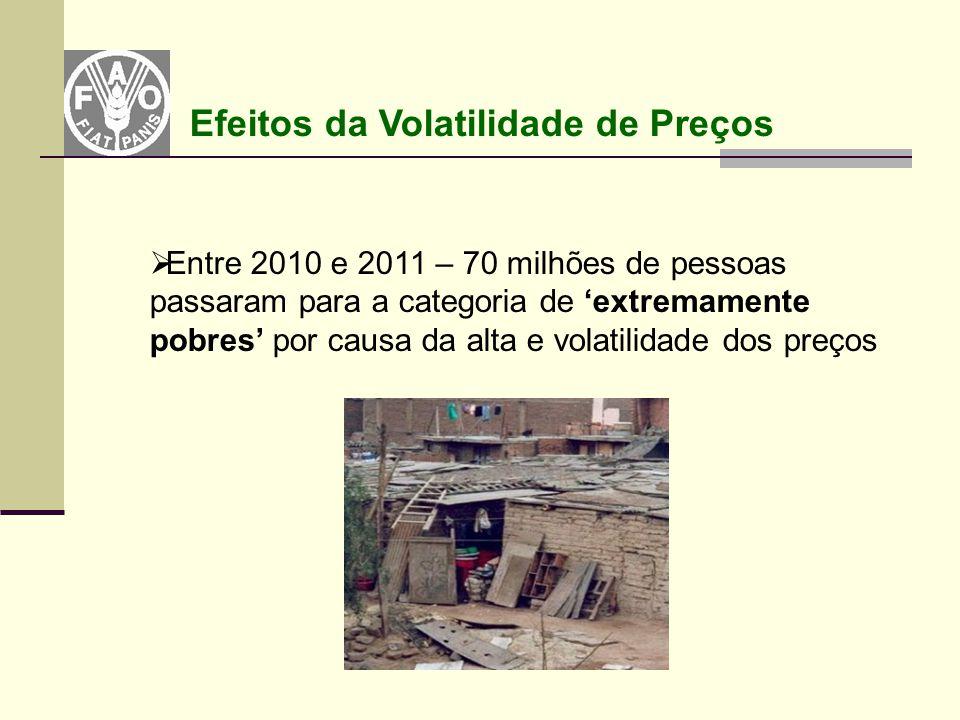  Entre 2010 e 2011 – 70 milhões de pessoas passaram para a categoria de 'extremamente pobres' por causa da alta e volatilidade dos preços Efeitos da