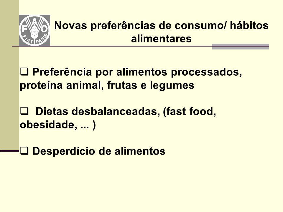 Novas preferências de consumo/ hábitos alimentares  Preferência por alimentos processados, proteína animal, frutas e legumes  Dietas desbalanceadas,