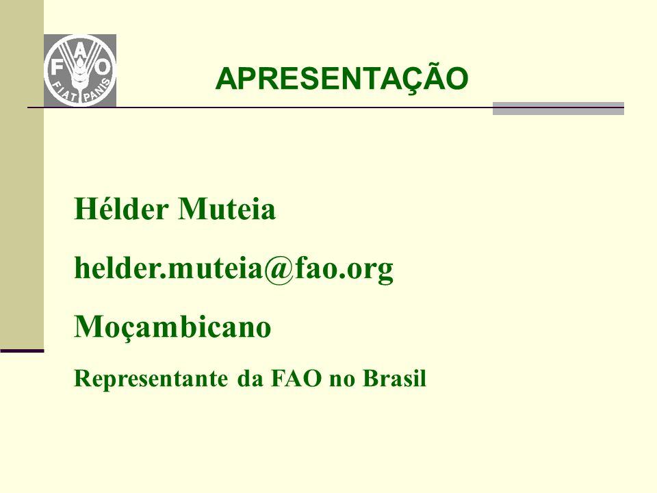 APRESENTAÇÃO Hélder Muteia helder.muteia@fao.org Moçambicano Representante da FAO no Brasil