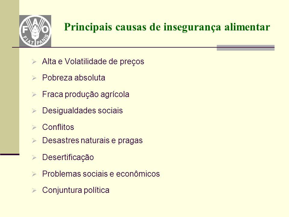 Principais causas de insegurança alimentar  Alta e Volatilidade de preços  Pobreza absoluta  Fraca produção agrícola  Desigualdades sociais  Conf