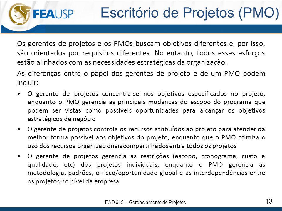 EAD 615 – Gerenciamento de Projetos 13 Escritório de Projetos (PMO) Os gerentes de projetos e os PMOs buscam objetivos diferentes e, por isso, são orientados por requisitos diferentes.