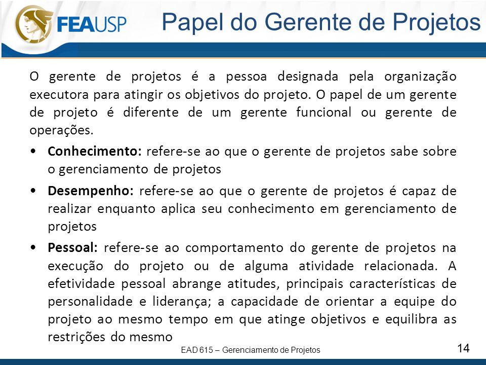 EAD 615 – Gerenciamento de Projetos 14 Papel do Gerente de Projetos O gerente de projetos é a pessoa designada pela organização executora para atingir