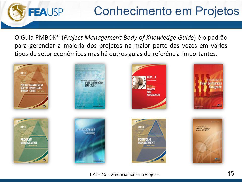EAD 615 – Gerenciamento de Projetos 15 Conhecimento em Projetos O Guia PMBOK® (Project Management Body of Knowledge Guide) é o padrão para gerenciar a maioria dos projetos na maior parte das vezes em vários tipos de setor econômicos mas há outros guias de referência importantes.