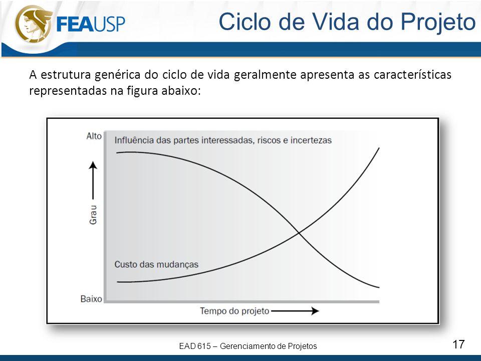 EAD 615 – Gerenciamento de Projetos 17 Ciclo de Vida do Projeto A estrutura genérica do ciclo de vida geralmente apresenta as características representadas na figura abaixo: