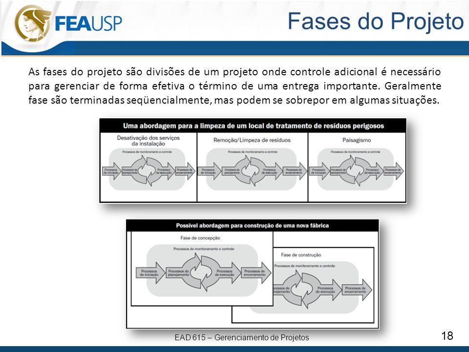 EAD 615 – Gerenciamento de Projetos 18 Fases do Projeto As fases do projeto são divisões de um projeto onde controle adicional é necessário para gerenciar de forma efetiva o término de uma entrega importante.