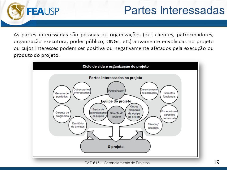 EAD 615 – Gerenciamento de Projetos 19 Partes Interessadas As partes interessadas são pessoas ou organizações (ex.: clientes, patrocinadores, organiza